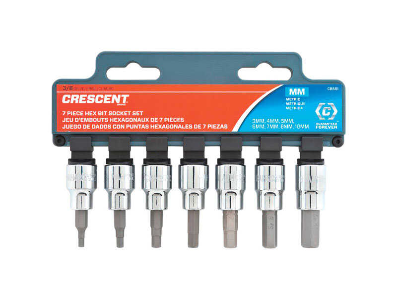 Crescent  Assorted Sizes  x 3/8 in.  Metric  6  Hex Bit Socket Set  7 pc.