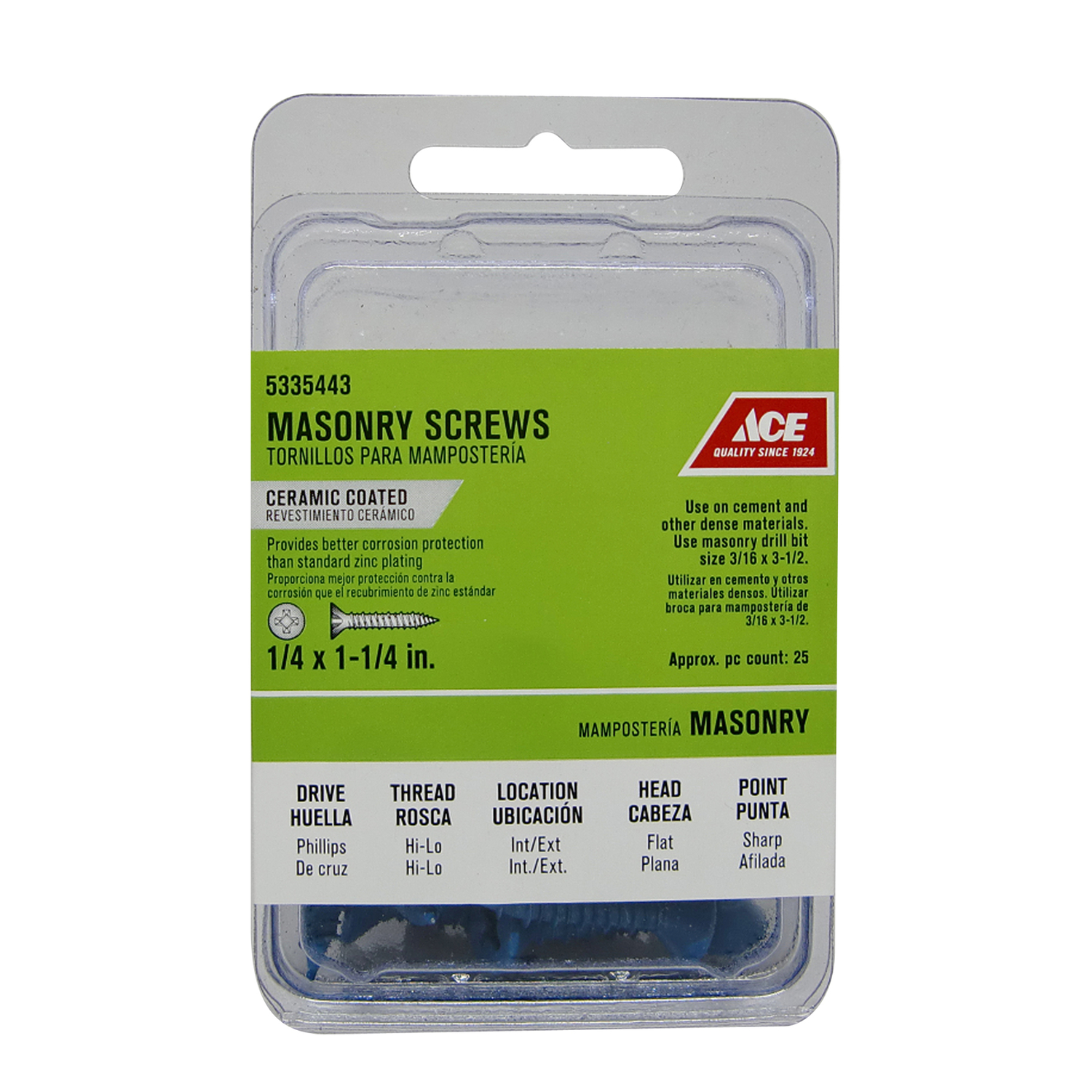Ace  3/16 in.   x 2-3/4 in. L Phillips  Flat Head Ceramic  Steel  Masonry Screws  20 pk
