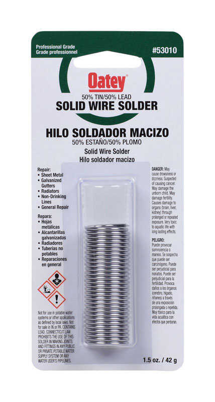 Oatey  1.5 oz. Solid Wire Solder  0.75 in. Dia. Tin/Lead  50/50