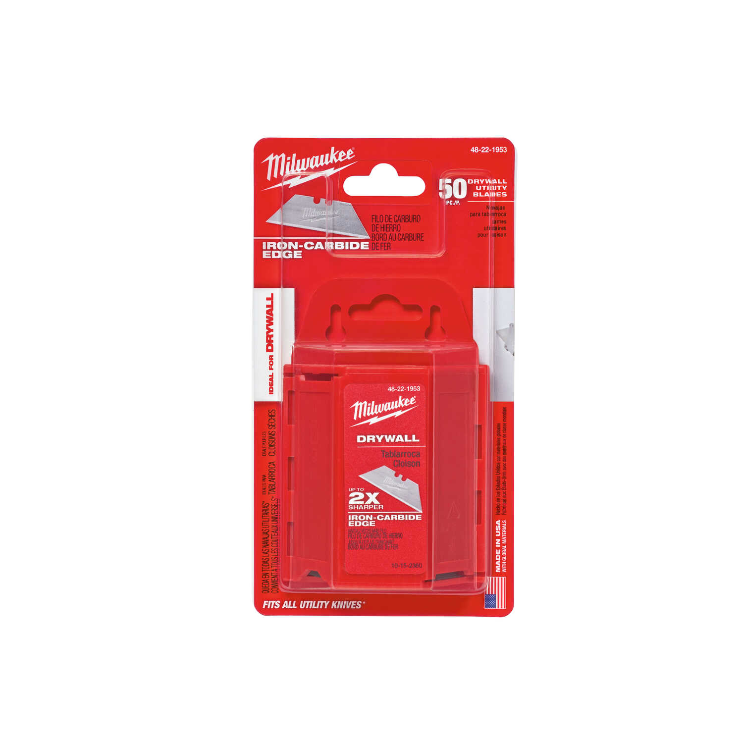 Milwaukee  3 in. L x 0.02 in.  Micro Carbide Metal  Drywall Utility Blades  50 pc. Utility