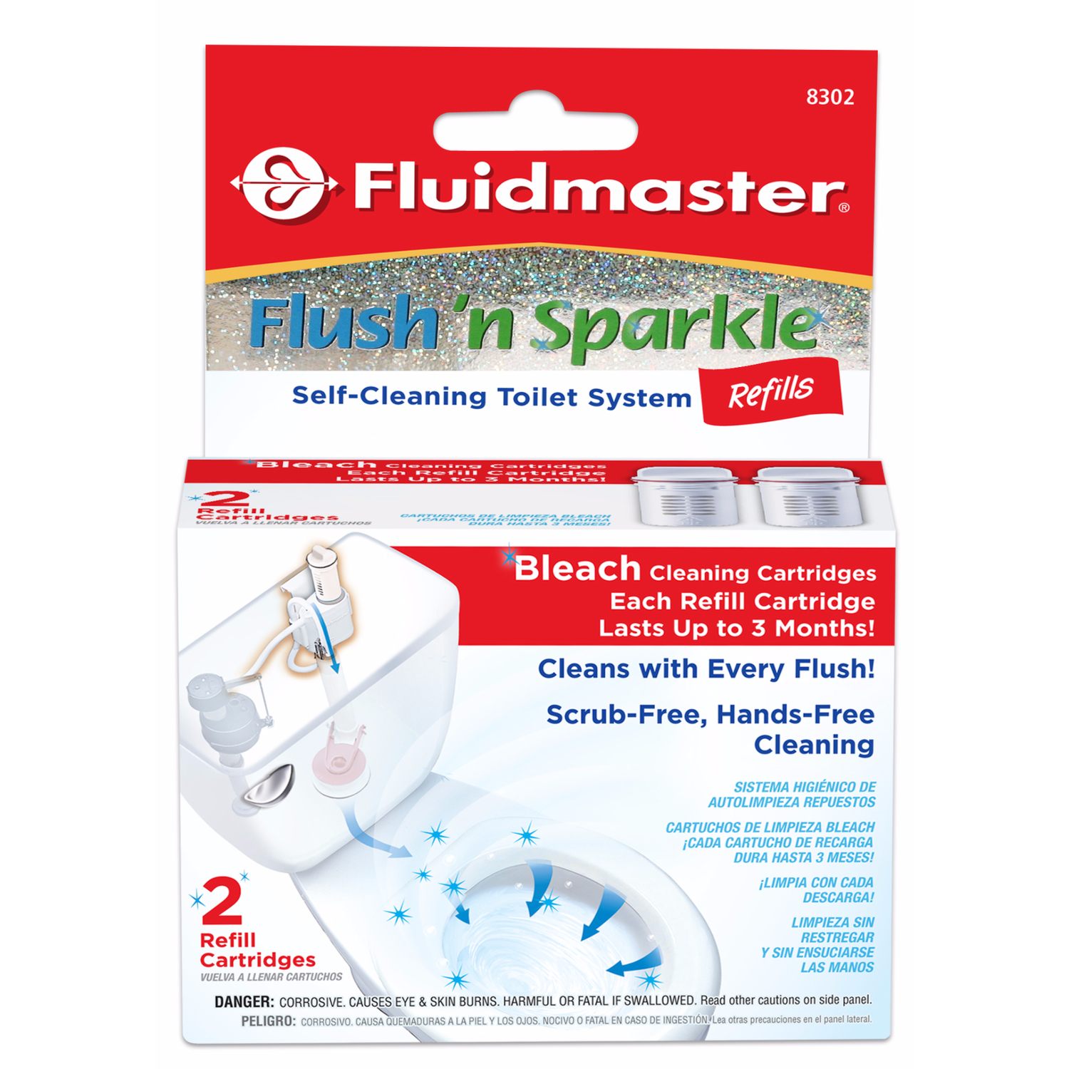 Fluidmaster  Flush N' Sparkle  No Scent Continuous Toilet Cleaning System Refill  2  Liquid