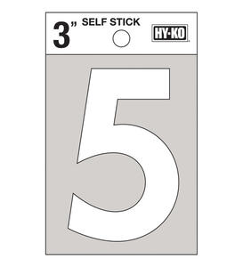 Hy-Ko  3 in. White  Vinyl  Number  5  Self-Adhesive  1 pc.