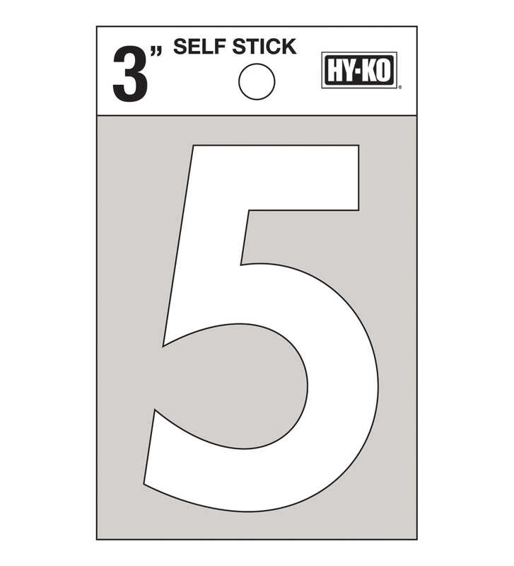 Hy-Ko  3 in. Reflective Vinyl  White  5  Number  Self-Adhesive