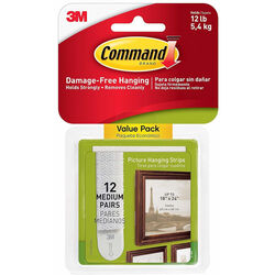 3M  Command  White  Medium  Picture Hanging Strips  12 pk Foam