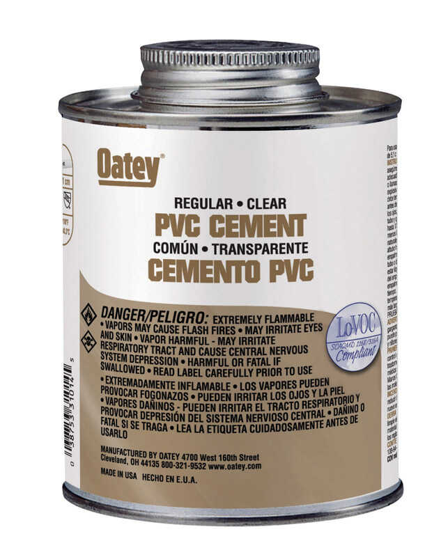 Oatey  Clear  For PVC 4 oz. Cement