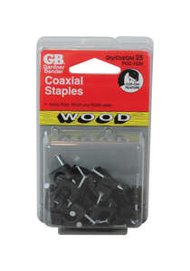 GB  1/4 in. W Plastic  Coaxial Staple  25  Insulated