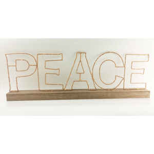 Gerson  Battery Operated Peace Sign  LED Christmas Decoration  Metal  1 each