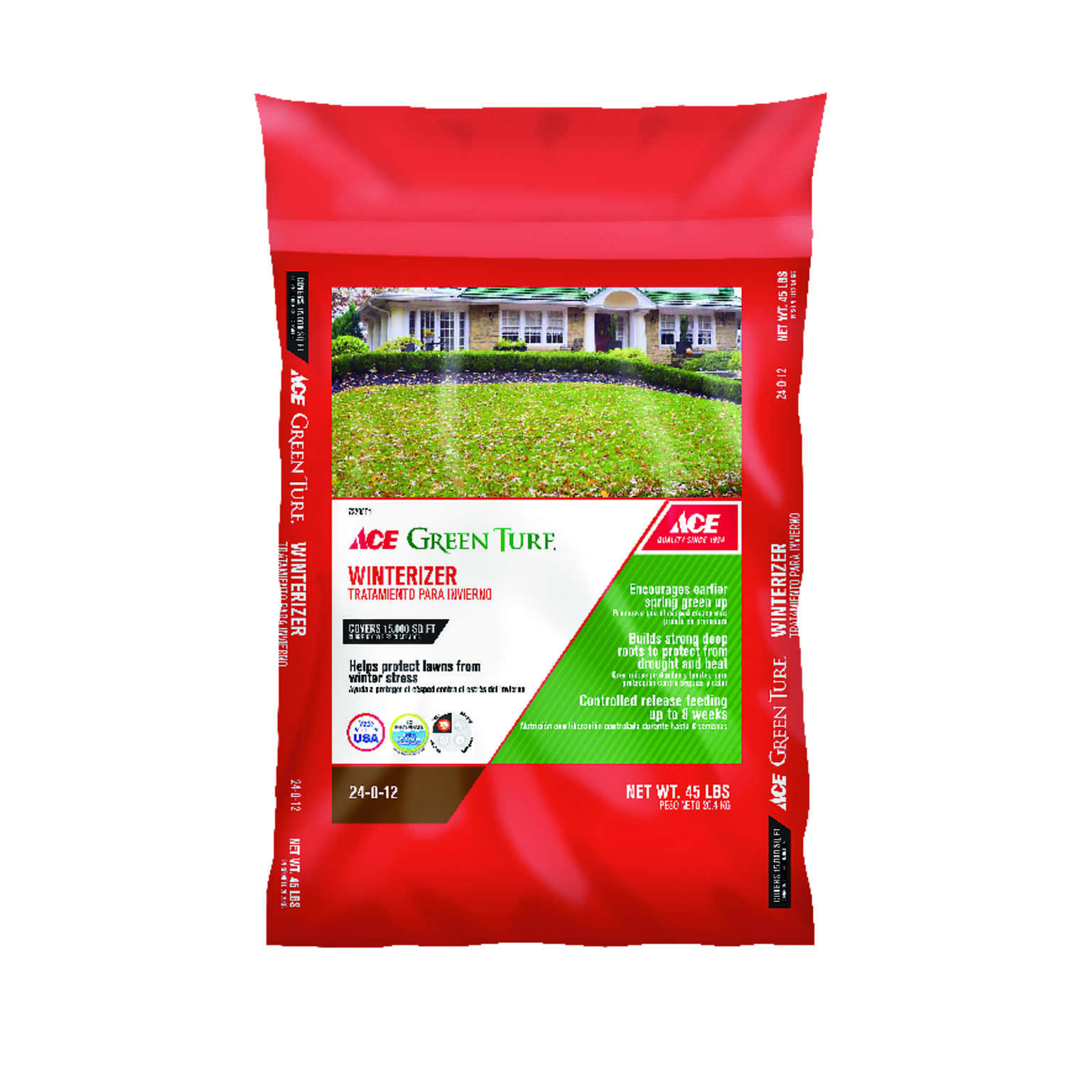 Ace  Green Turf  24-0-12  Winterizer Lawn Fertilizer  For All Grass Types 45 lb. 15000 sq. ft.