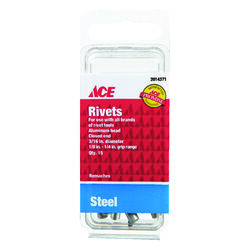 Ace  3/16 in. Dia. x 1/4 in.  Steel  Rivets  Silver  15 pk