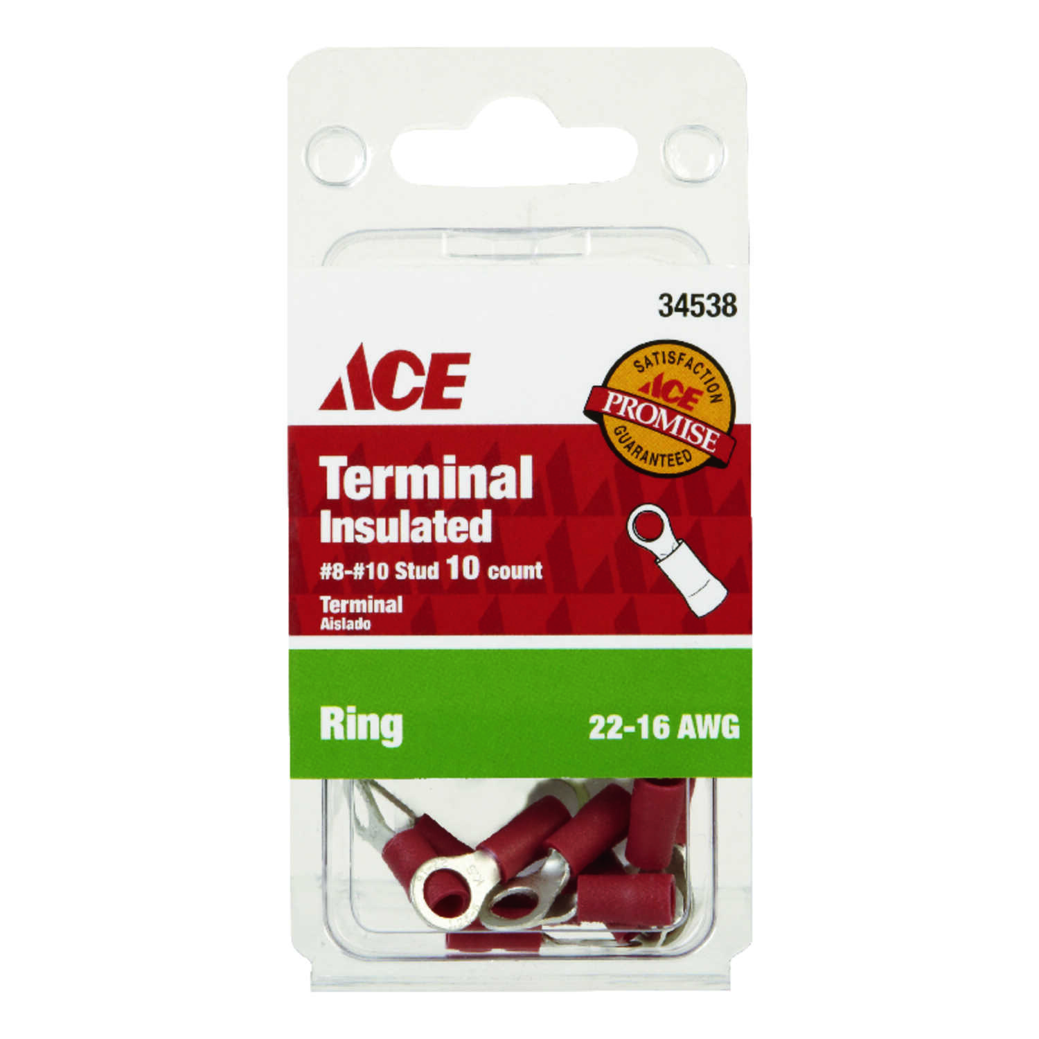 Ace  10  22-16 AWG Ring Terminal  Insulated Wire