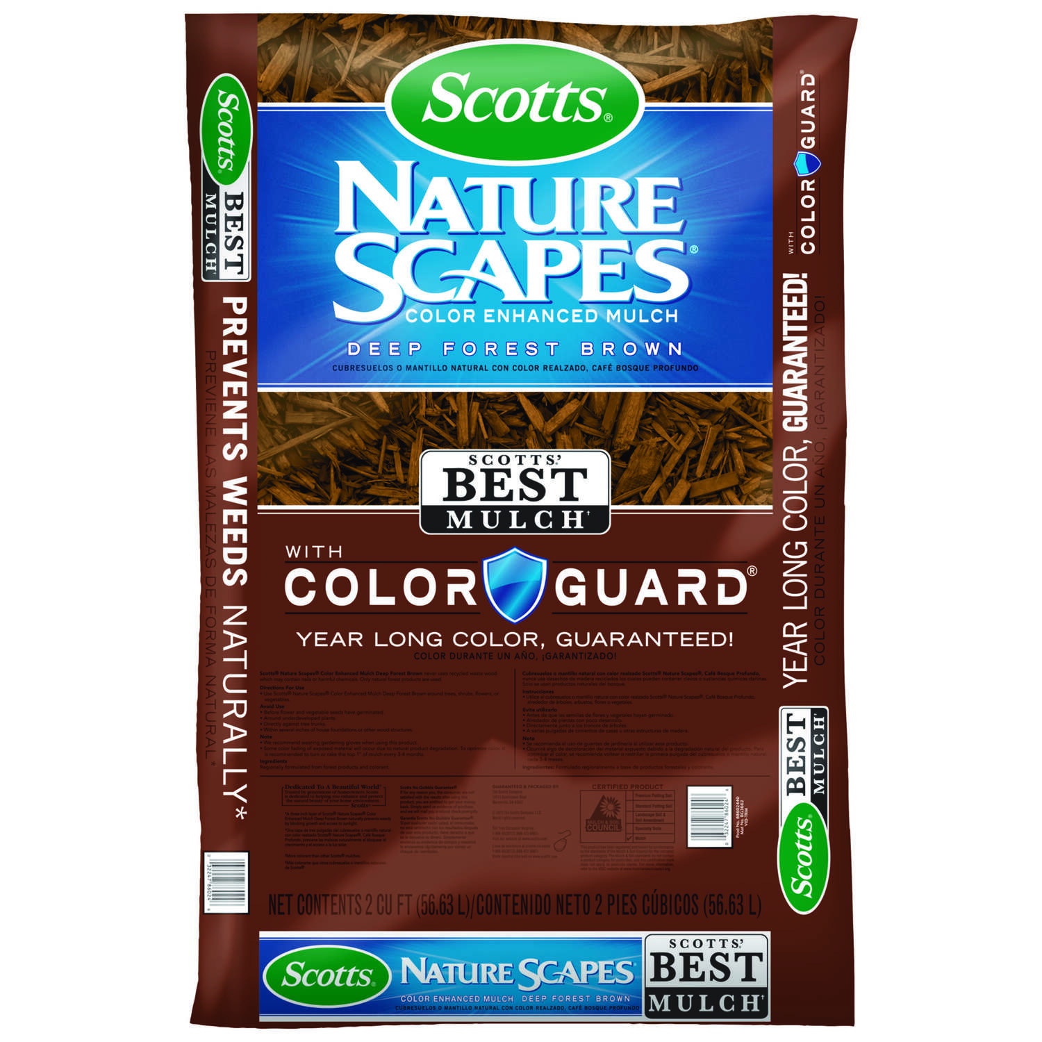 Scotts  Nature Scapes  Deep Forest Brown  Bark  Color-Enhanced Mulch  2 cu. ft. 12 sq. ft.
