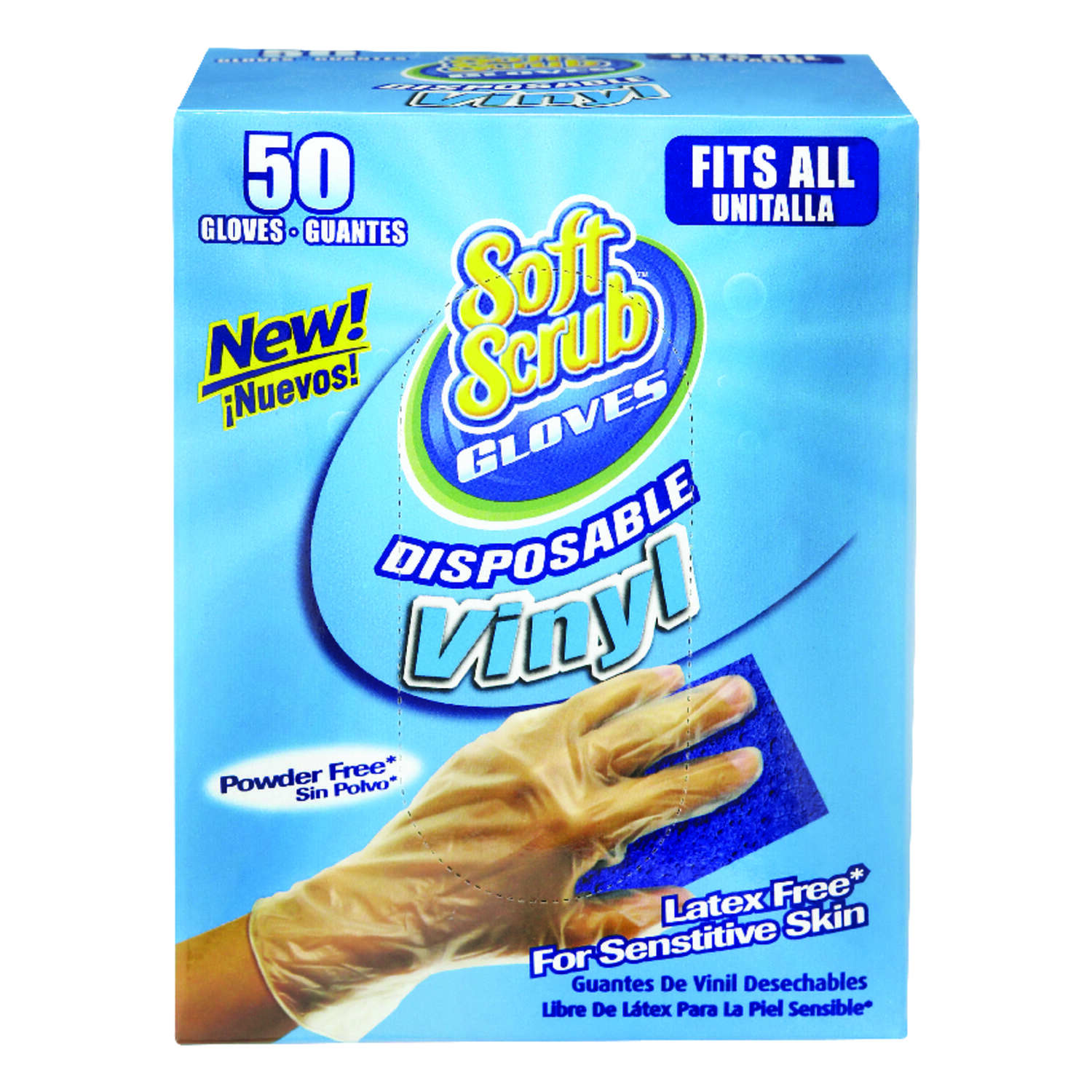Soft Scrub Vinyl Disposable Gloves One Size Fits Most Clear Powder Free 50 pk