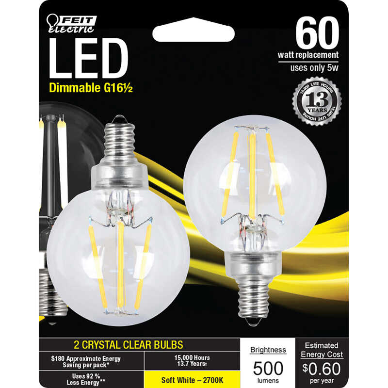 FEIT Electric  6 watts G16.5  LED Bulb  500 lumens Globe  60 Watt Equivalence Soft White