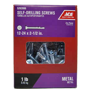 Ace  12-24 Sizes  x 2-1/2 in. L Phillips  Flat Head Zinc-Plated  Zinc  Self-Drilling Screws w/Wings