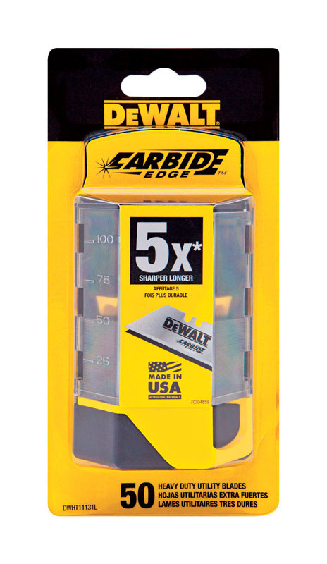 DeWalt  Carbide Edge  2-1/2 in. L x 0.02 in.  Steel  Replacement Blade  50 pk Heavy Duty