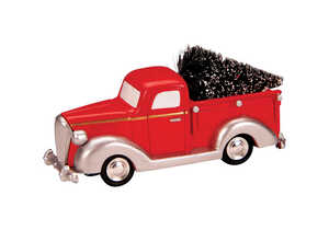 Lemax  Pick-Up Truck with Tree  Village Accessory  Red  Resin  1 each