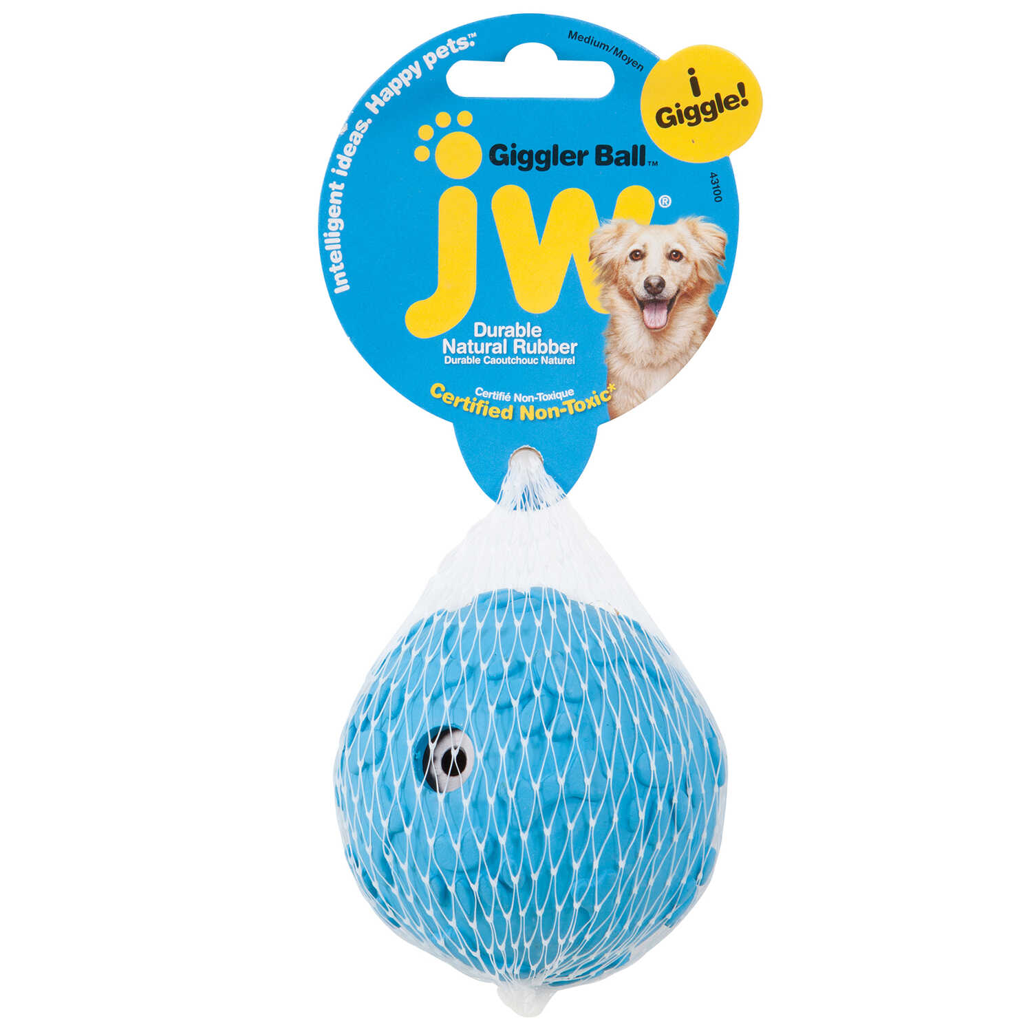 JW Pet  Blue  Giggler Ball  Rubber  Dog Toy  Medium