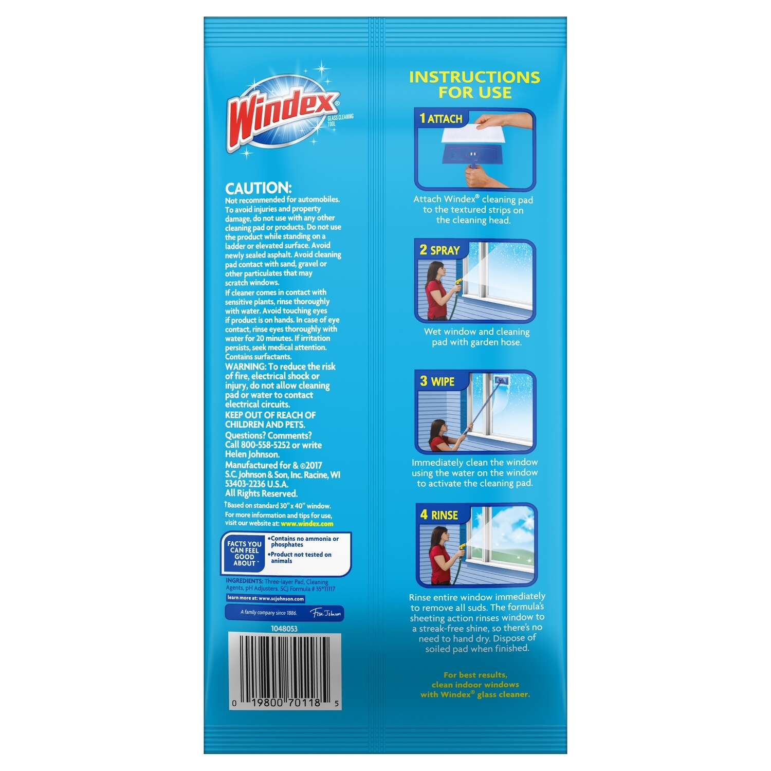 Windex Outdoor All In e No Scent Glass Cleaner Refill 2 pk Wipes