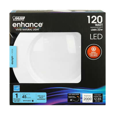 Feit Electric  Enhance  Daylight  5-6 in. W Aluminum  LED  Dimmable Recessed Downlight  120 watt equ