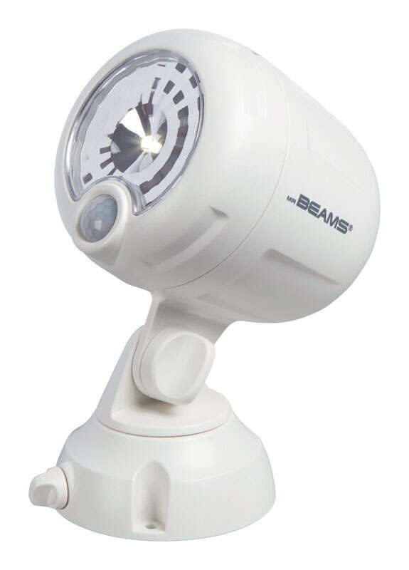 Mr. Beams  Battery Powered  White  Spotlight  Plastic  Motion-Sensing