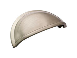 Amerock  Traditional  Half Oval  Cabinet Pull Cup  3 in. Satin Nickel  1 pk