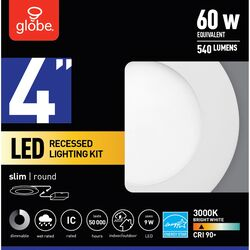 Globe Electric  Frost  White  4 inch  W Metal  LED  Recessed Light  60 watt
