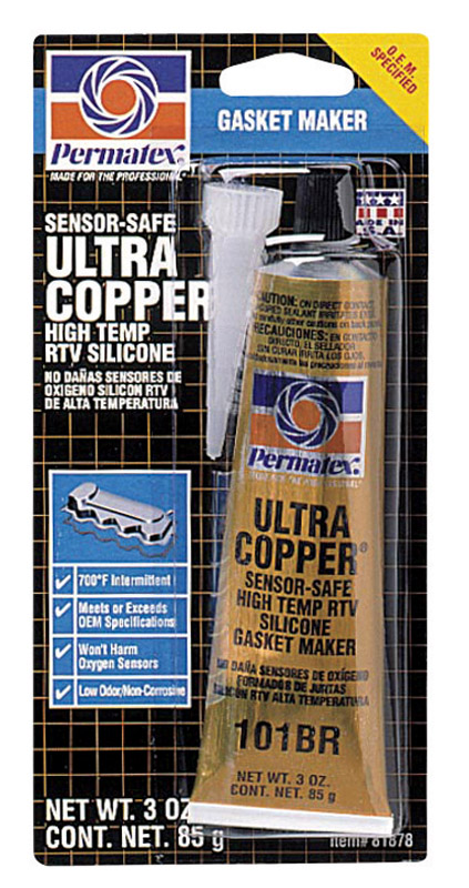 Permatex  Ultra Copper  3 oz. RTV Silicone Gasket Maker