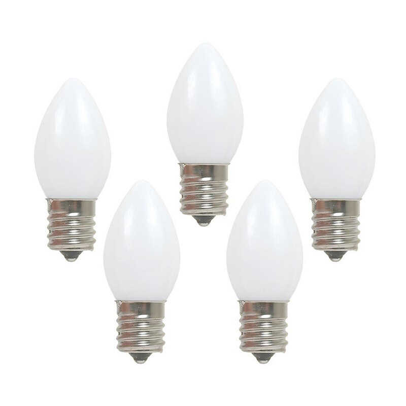 Holiday Bright Lights  C7  Christmas Light Bulbs  White  1 in. 25 lights
