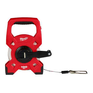 Milwaukee  100 ft. L x 1.75 in. W Open Reel  Long Tape Measure  Red  1 pk