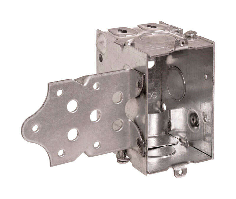 Steel City 3 in. Rectangle Galvanized Steel 1 gang Switch Box w/S Bracket Silver