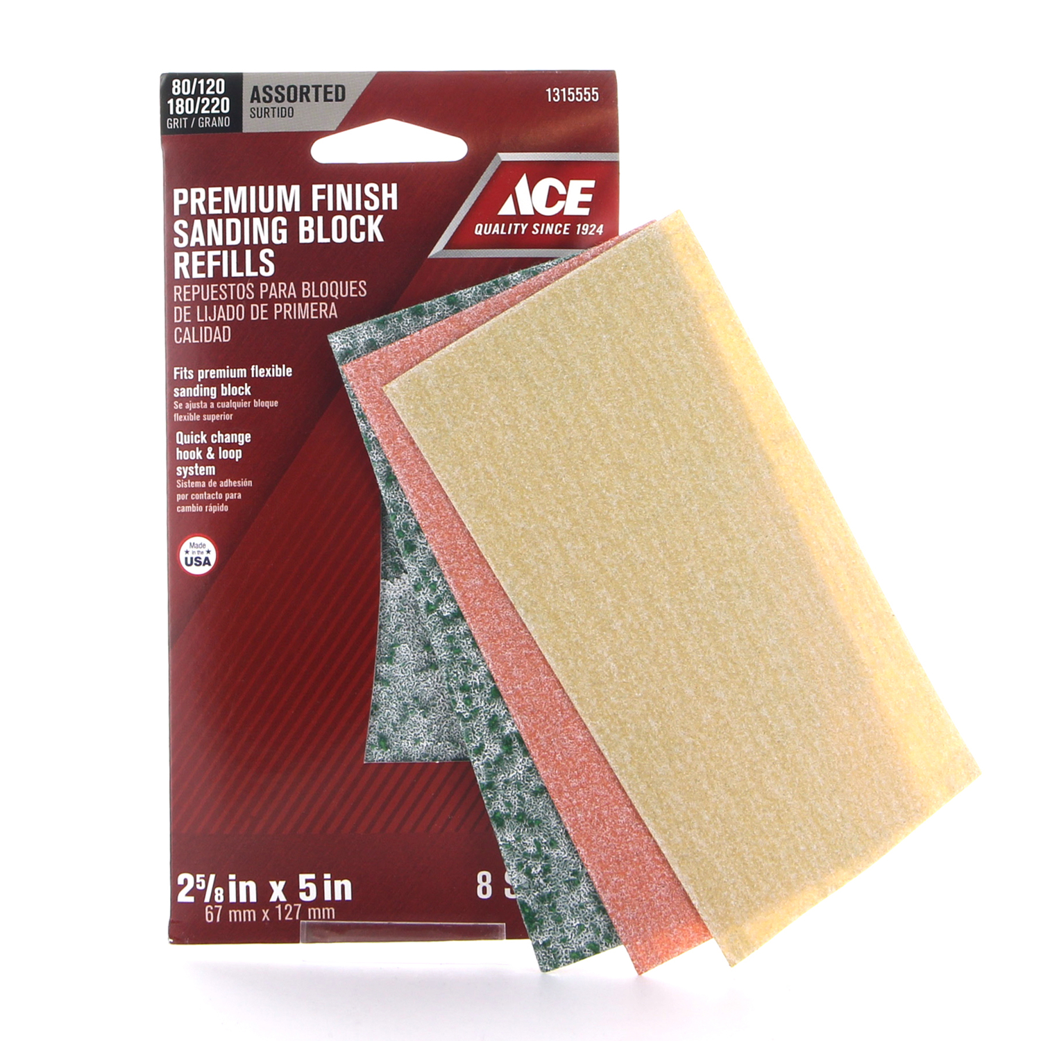 Ace  5 in. L x 2-5/8 in. W 80/120/180/220 Grit Assorted  Aluminum Oxide  Sanding Sheet  8 pk