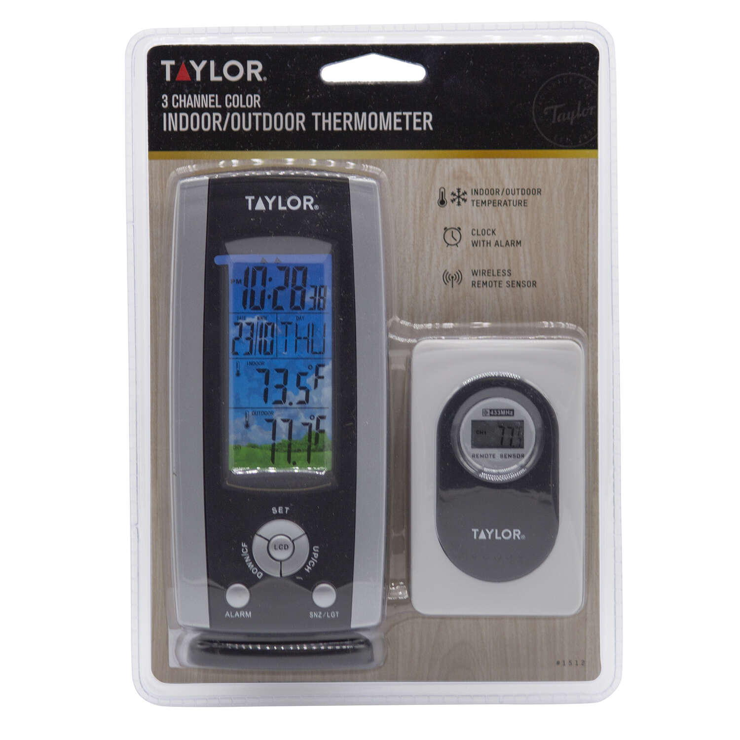Tayor Wireless Digital Weather Station Thermometer and C Indoor/Outdoor 100 ft.   Requires 2 AAA Bat