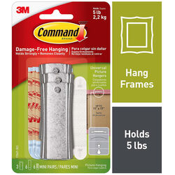 3M Command Plastic Coated White Hanger Picture Hanger 5 lb. Metal 3 pk