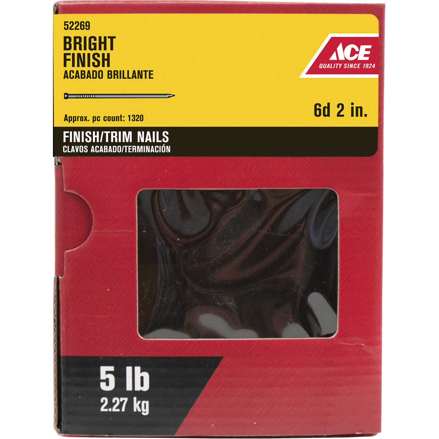 Ace  6D  2 in. L Finishing  Bright  Steel  Nail  Smooth Shank  Countersunk  5 lb.