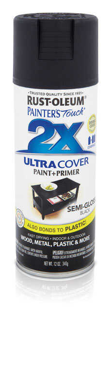 Rust-Oleum  Painters Touch Ultra Cover  Semi-Gloss  Black  Spray Paint  12 oz.