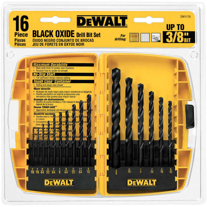 DeWalt  1/16 in. Dia. x Multi  L Black Oxide  Round Shank  16 pc. Drill Bit Set