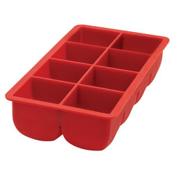 HIC 4.5 in. W x 8.5 in. L Red Silicone Ice Cube Tray