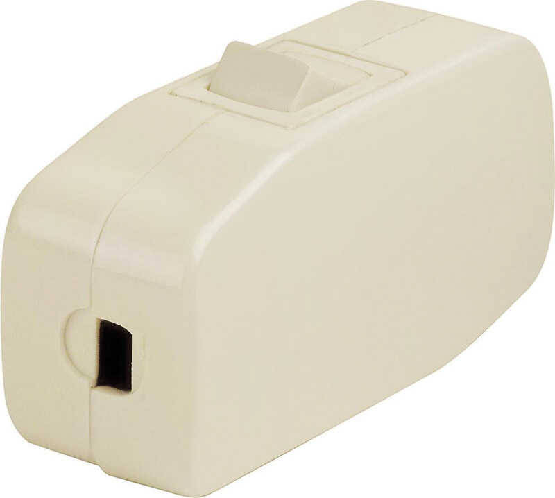 Leviton Feed-Through Cord Switch Single Pole Feed Thru On/Off 3 Amp 125 volts Ivory CSA Bagged