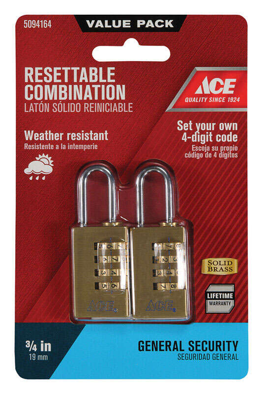 Ace  7/8 in. W x 1-7/16 in. H Brass  4-Dial Combination  2 pk Padlock