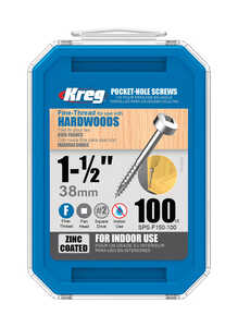 Kreg Tool  No. 8   x 1-1/2 in. L Square  Washer  Zinc-Plated  Pocket-Hole Screw  100 pk Steel