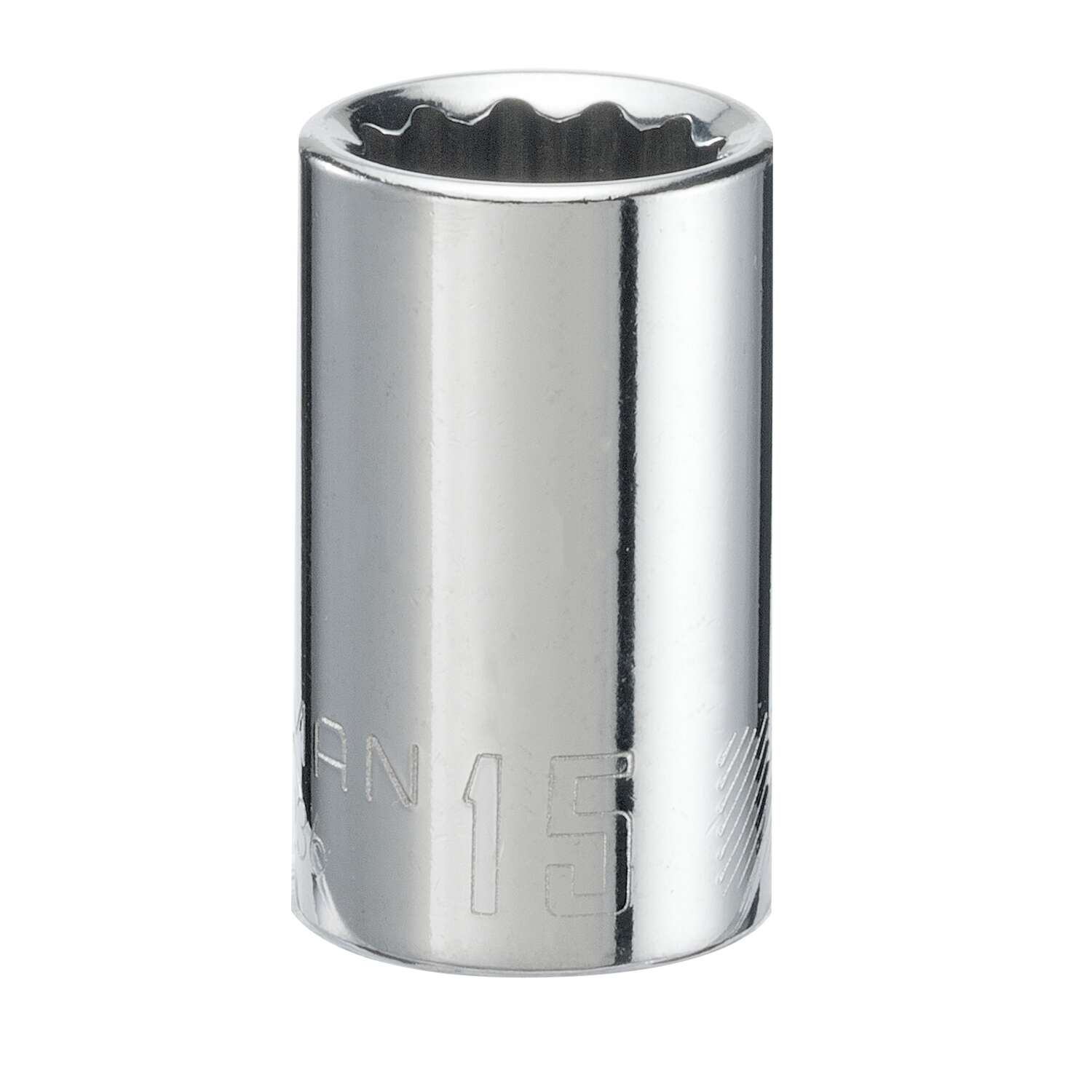 Craftsman  15 mm  x 1/2 in. drive  12 Point Shallow Socket  1 pc.