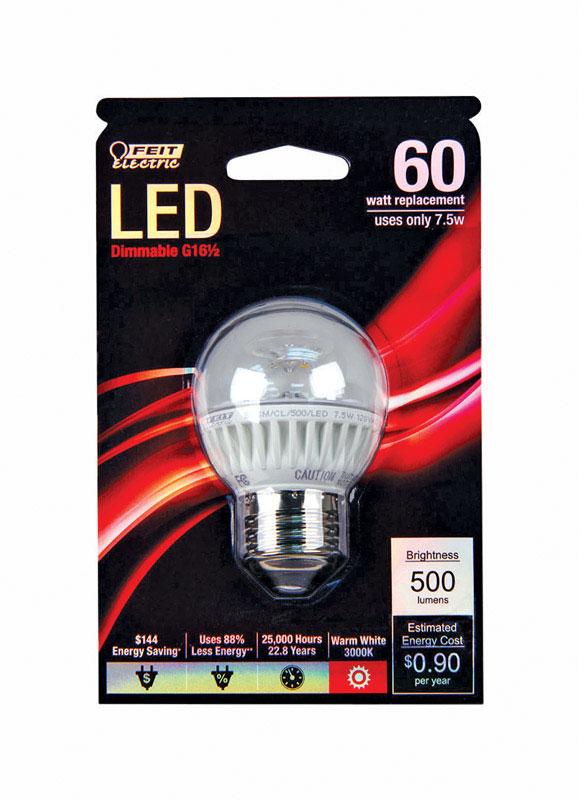 FEIT Electric G16.5 E26 (Medium) LED Bulb Warm White 60 Watt Equivalence 1 pk