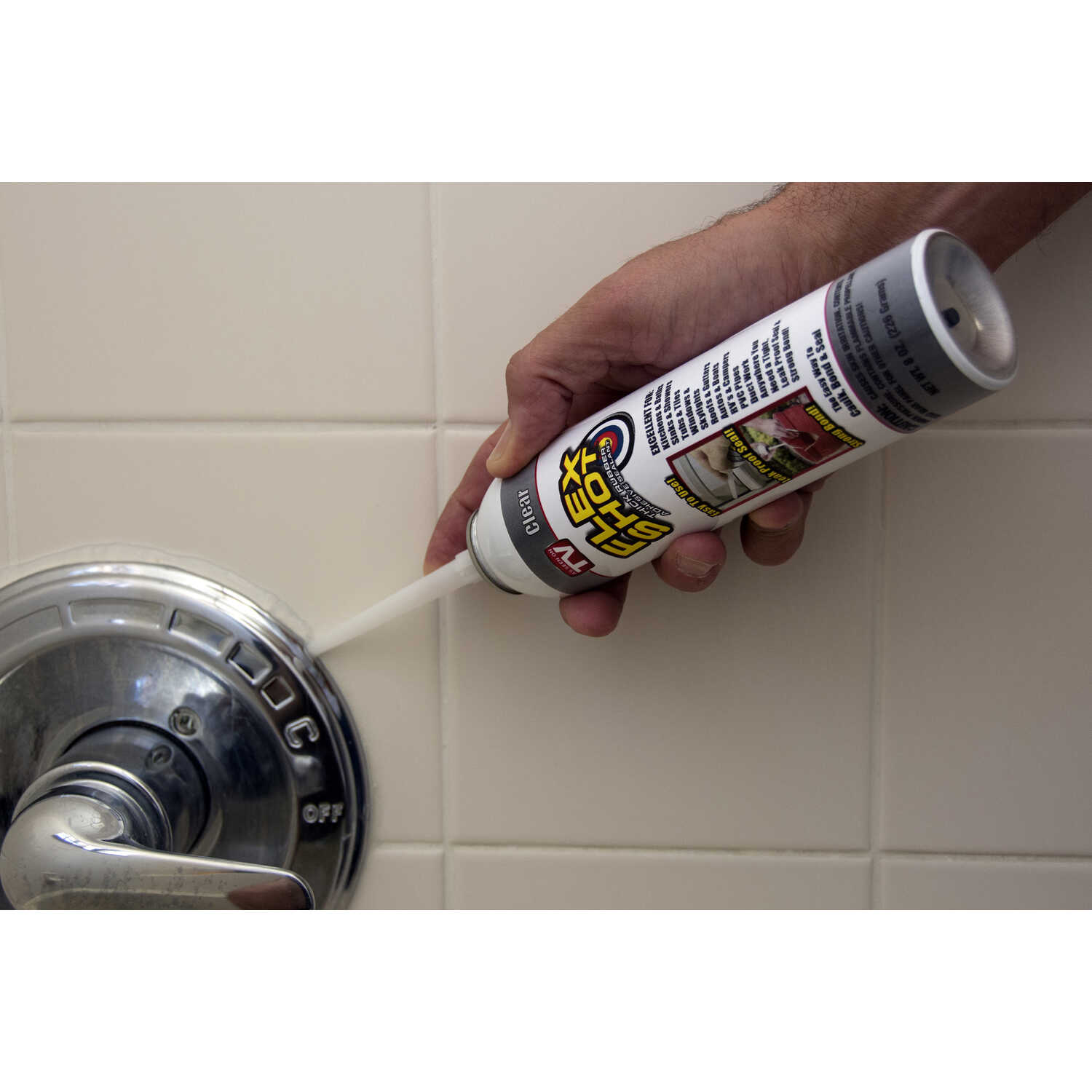 Flex Shot Clear Acrylic Rubber All Purpose Sealant 8 oz Can