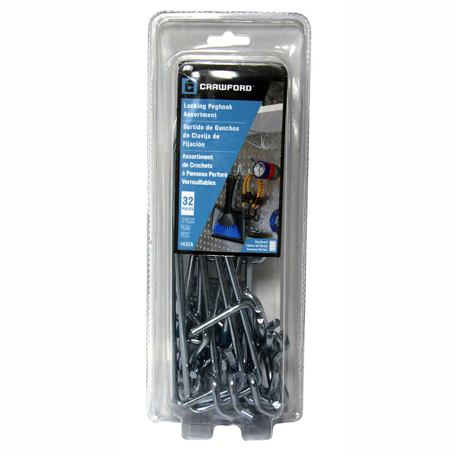 Crawford  Zinc Plated  Black/Silver  Steel  Peg Hook Assortment  32 pk
