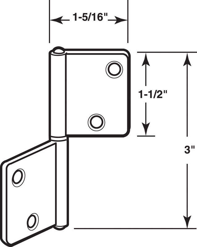 Prime-Line  3 in. L Brass-Plated  Steel  Door Hinge  1
