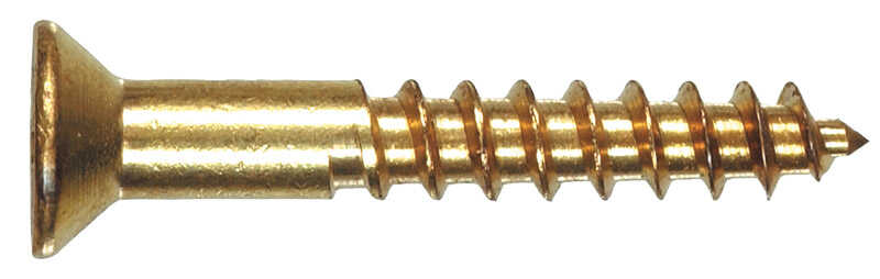 HILLMAN  No. 6   x 1-1/4 in. L Phillips  Brass  Wood Screws  100 pk Flat