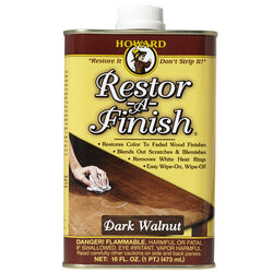 Howard  Restor-A-Finish  Semi-Transparent  Dark Walnut  Oil-Based  Wood Restorer  1 pt.