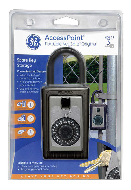 GE  3-3/4 in. H x 2.5 in. W x 1-3/4 in. L Steel  3-Digit Combination  1 pk Key Safe