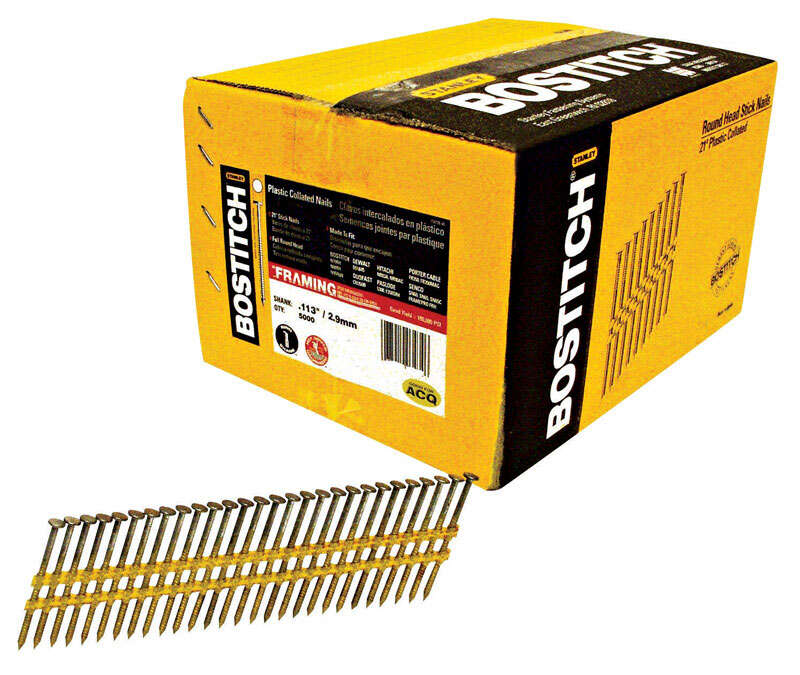 Bostitch  2-3/8 in. 11 Ga. Straight Strip  Nails  21 deg. Smooth Shank  5000 pk