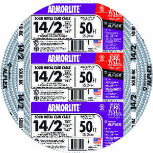 Southwire  ARMORLITE  50 ft. 14/2  Solid  Aluminum Armored MC  Cable